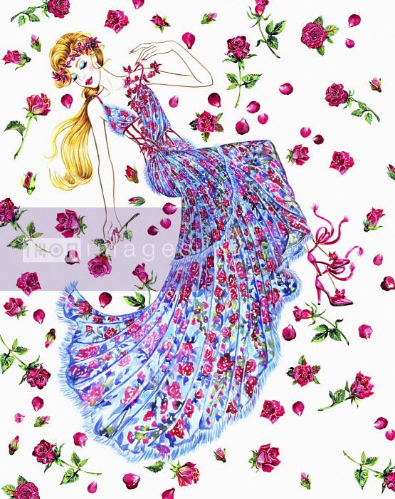 Woman in floral dress lying among rose petals - Sunny Gu