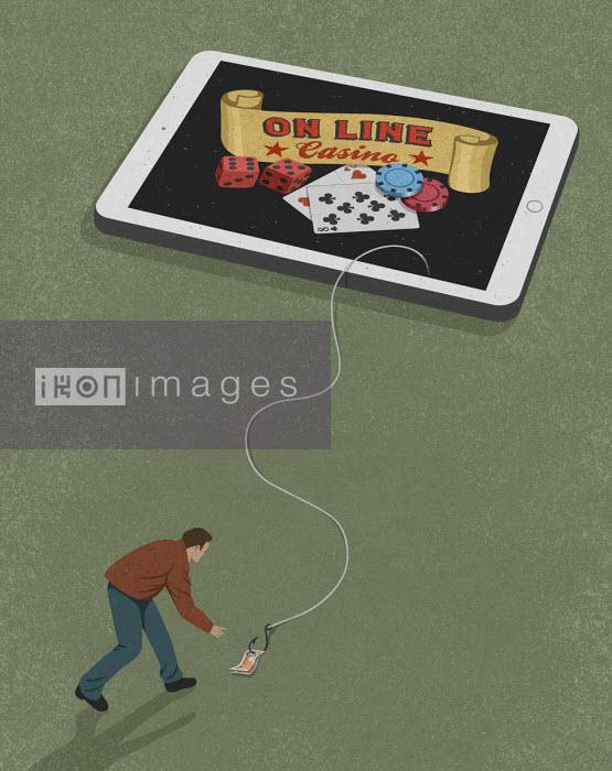 Man being tempted by online gambling - John Holcroft