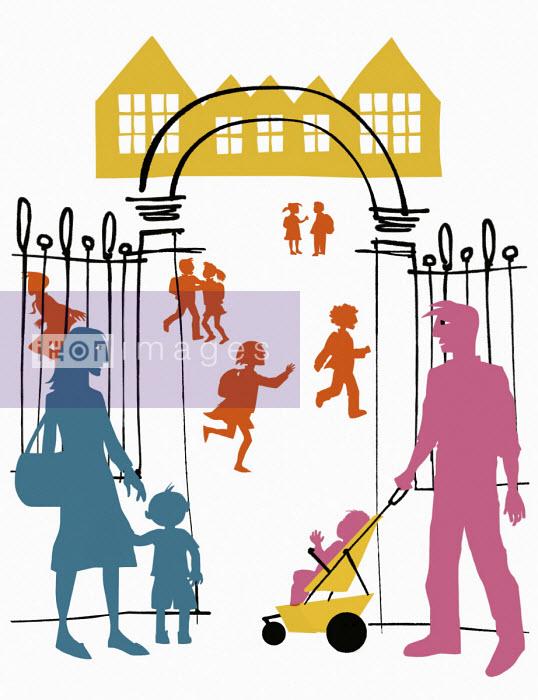 Parents at school gate - Jan Bowman