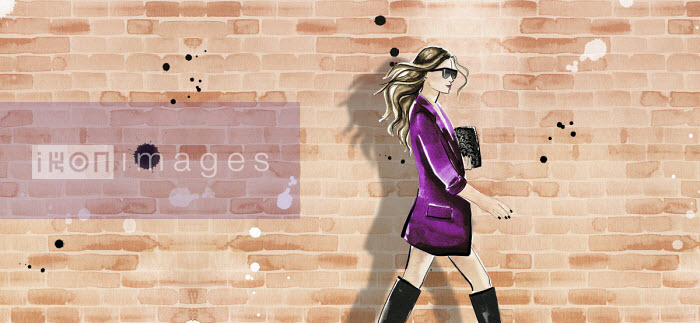 Fashion illustration of woman wearing jacket and boots against brick wall - Veronica Collignon