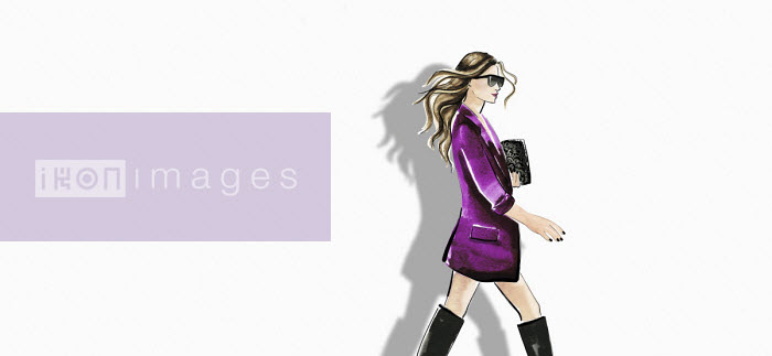Fashion illustration of woman wearing jacket and boots against white background - Veronica Collignon