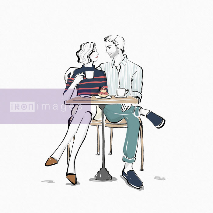 Affectionate couple having coffee together - Veronica Collignon