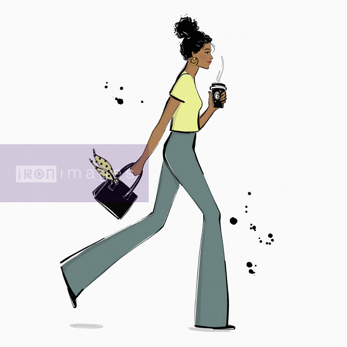 Woman having coffee on the go - Veronica Collignon