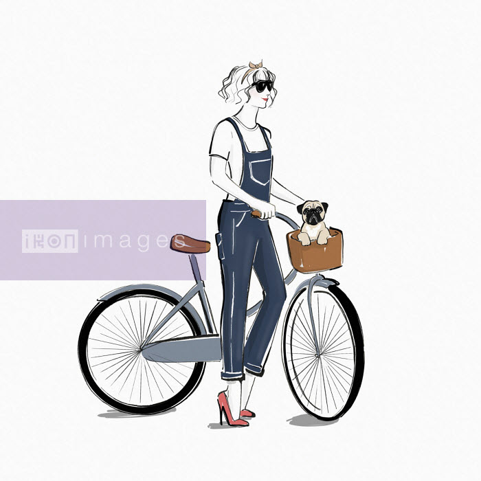 Young woman with pug dog in bicycle basket - Veronica Collignon
