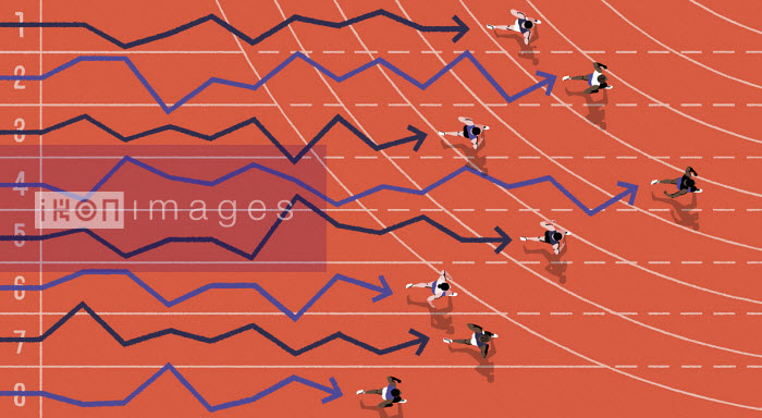 Overhead view of athletes and line graphs competing in race - Matt Harrison Clough