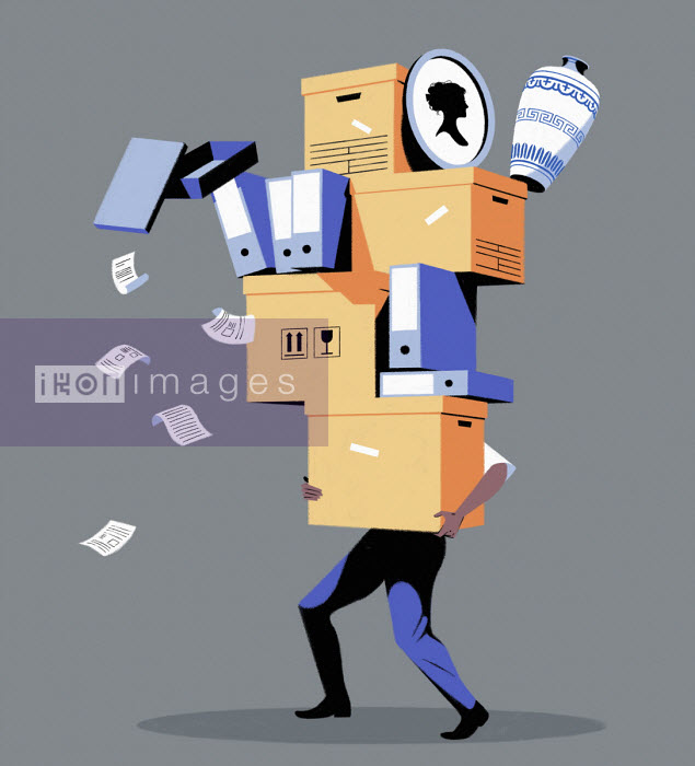 Man carrying huge pile of boxes and files - Matt Harrison Clough