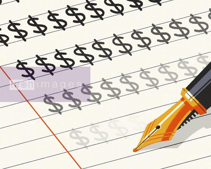 Pen writing fading dollar signs - Matt Harrison Clough