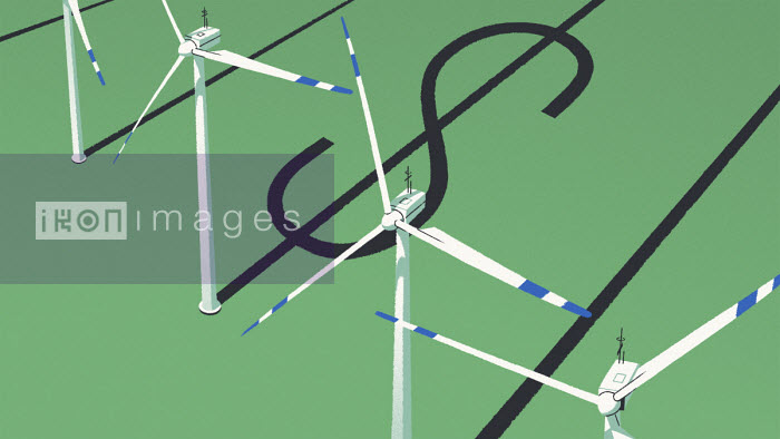 Wind turbine with dollar sign shaped shadow - Matt Harrison Clough