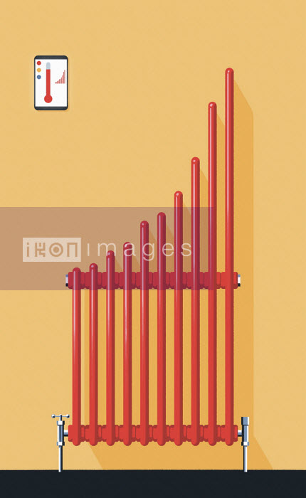 Central heating radiator forming bar chart - Matt Harrison Clough