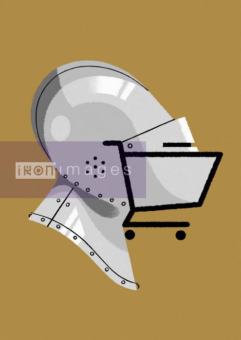 Shopping trolley forming part of amour helmet - Matt Harrison Clough