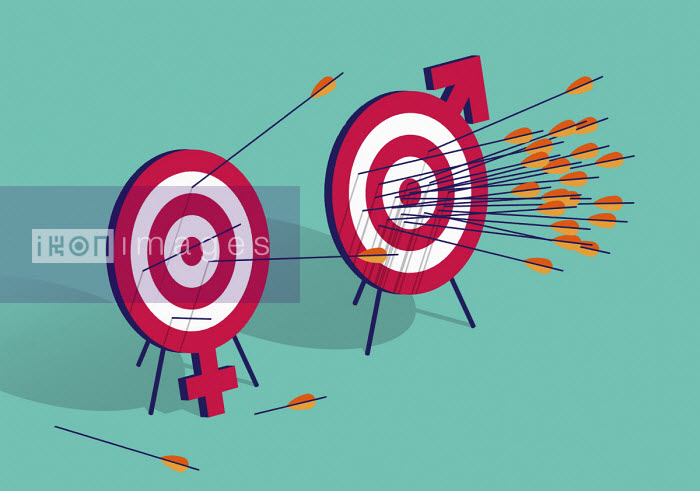 Contrast between arrows hitting male and female targets - Matt Harrison Clough