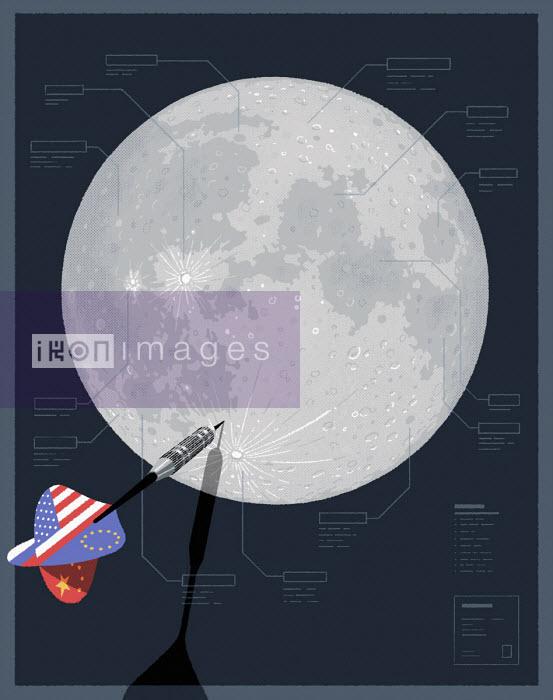 Joint American, Chinese, Russian and European dart hitting moon - Matt Harrison Clough