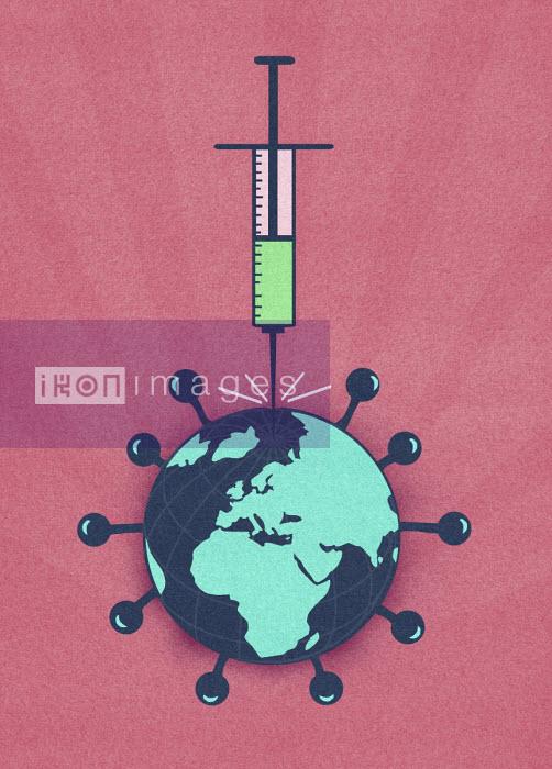 Syringe injecting global coronavirus virus organism - Marcus Butt