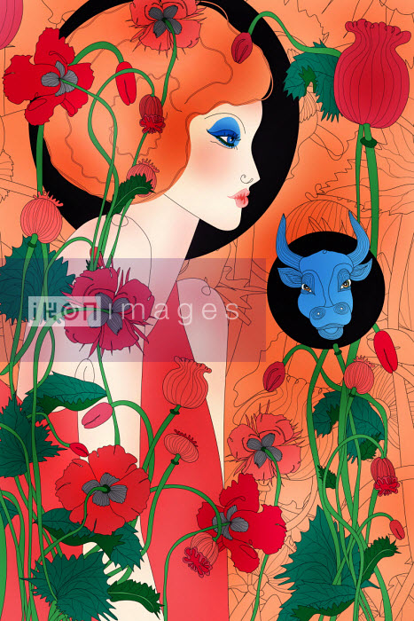 Beautiful woman as Taurus zodiac sign - ET