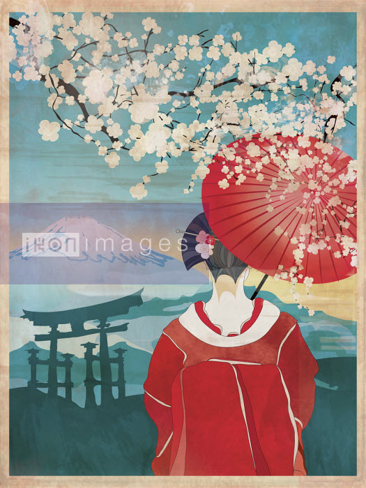 Traditional Japanese woman in spring blossom scene - ET