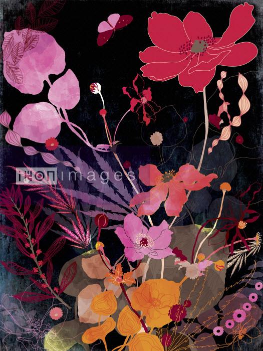Bright flowers against black background - ET