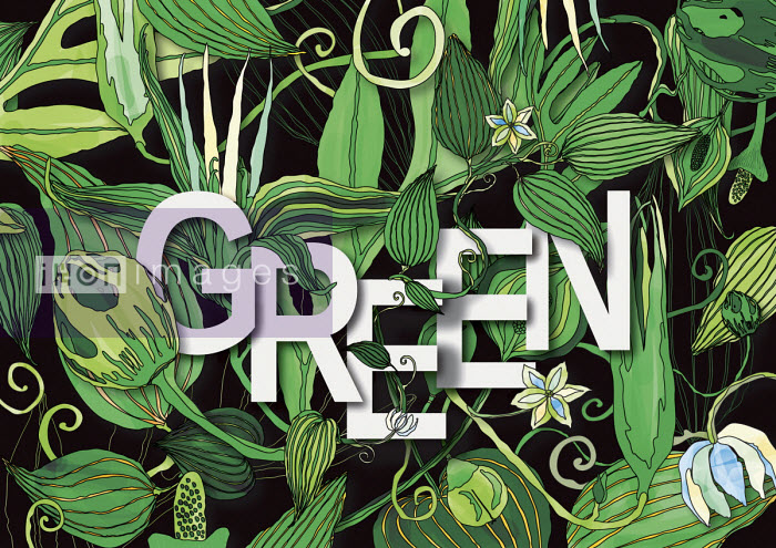 The word GREEN surrounded by lush foliage pattern - ET