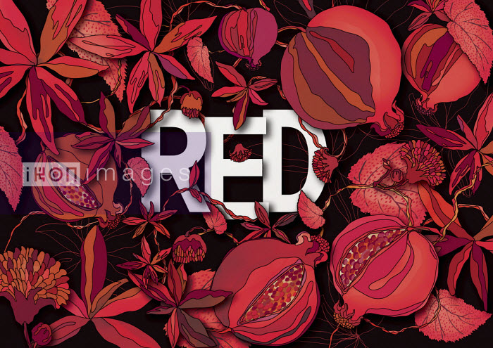 The word RED surrounded by foliage and seed head pattern - ET
