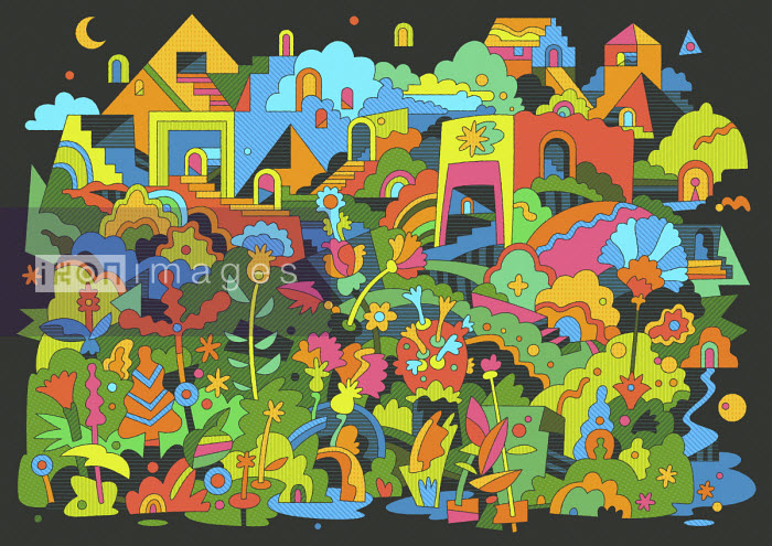 Colourful abstract town and flowers on hill at night - Matt Lyon