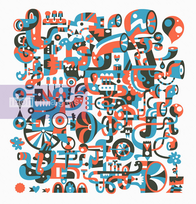 Complex abstract pattern of pipes and wind instruments - Matt Lyon