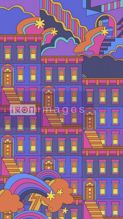Abstract repeat terraced house pattern - Matt Lyon