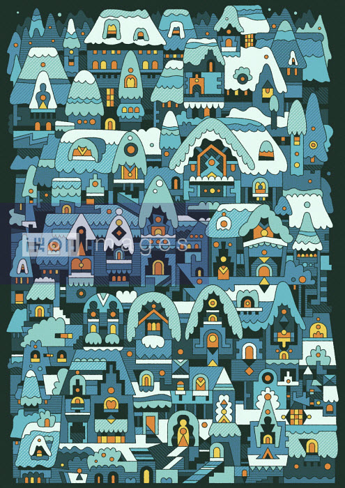 Abstract pattern of rows of houses in snow - Matt Lyon