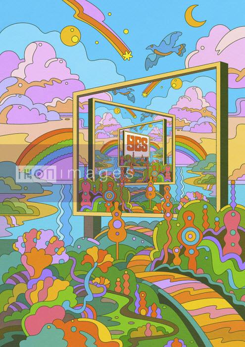 The word YES on billboard in fantasy psychedelic landscape - Matt Lyon