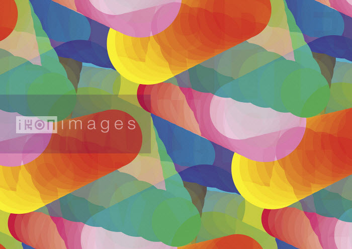 Abstract brightly coloured overlapping cone shapes - Philippe Intraligi