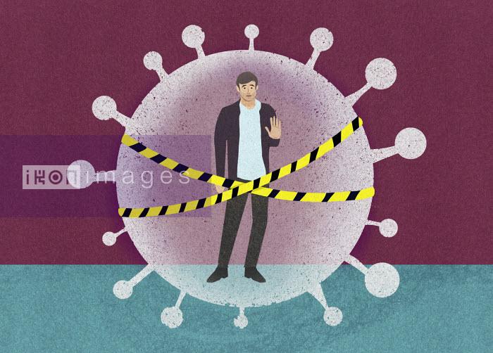 Man behind security tape inside coronavirus virus organism - Marcus Butt