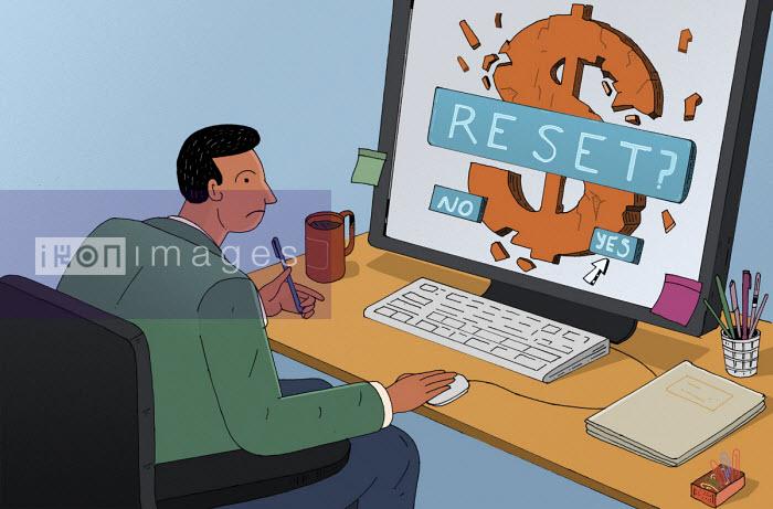 Businessman pressing reset option as dollar crumbles on computer screen - Maxim Usik