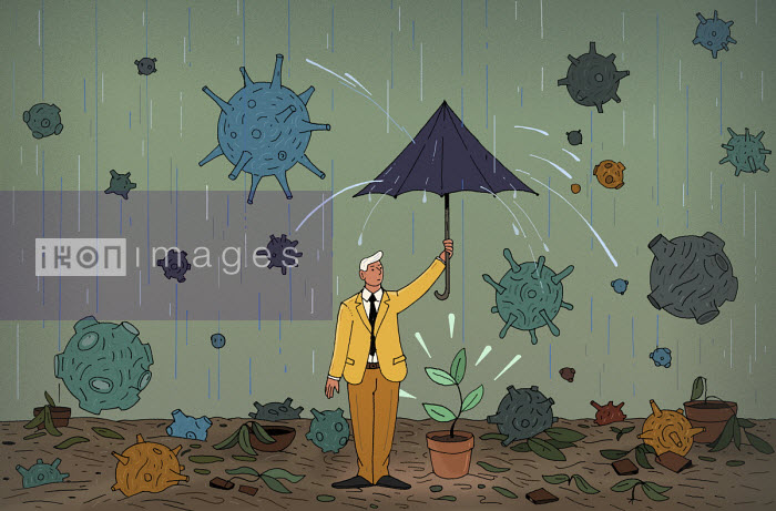 Businessman trying to protect last seedling from coronavirus rain storm - Maxim Usik