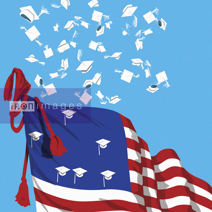 Mortar boards thrown in air from Stars and Stripes flag - Paul Garland