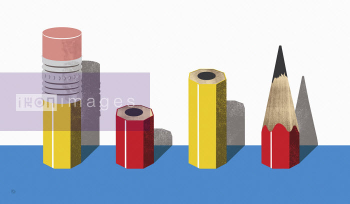 Pieces of pencil standing in a row - Paul Garland