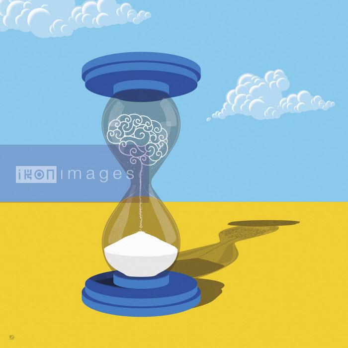 Human brain disintegrating in hourglass - Paul Garland