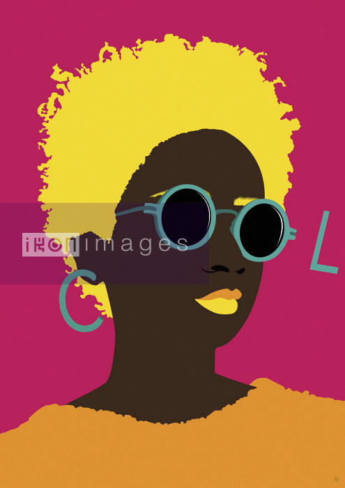 Young woman wearing sunglasses spelling word COOL - Paul Garland