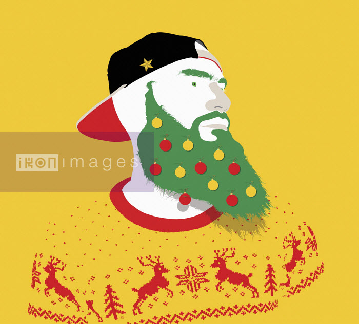 Hipster in Christmas sweater and decorations - Paul Garland