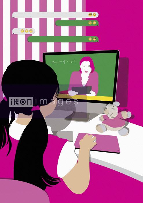 Little girl having lesson online - Paul Garland