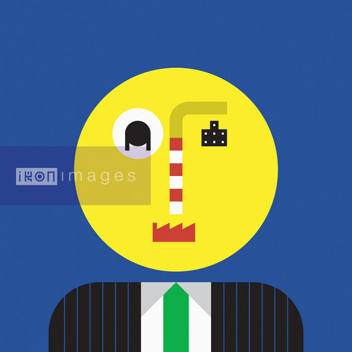 Businessman with industry symbol features - Grundini