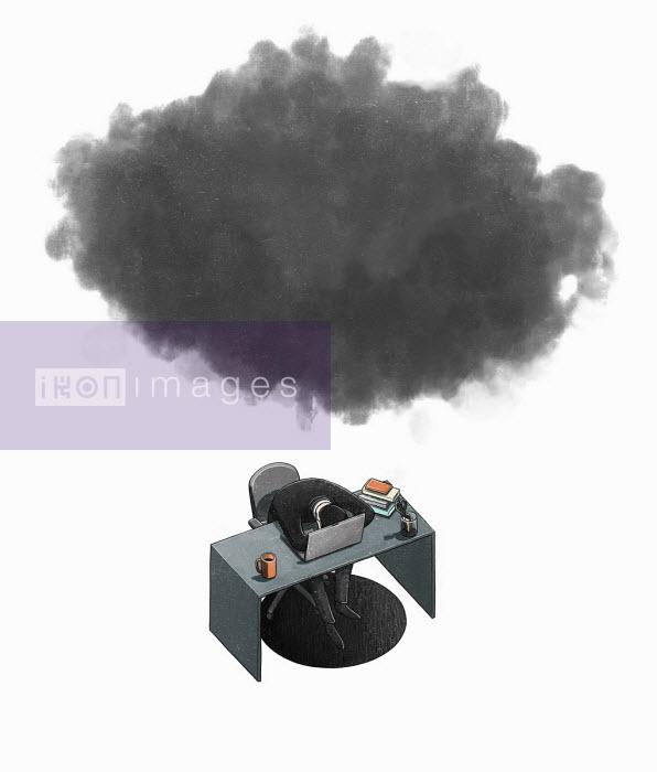 Businessman slumped over desk under black cloud - Danae Diaz