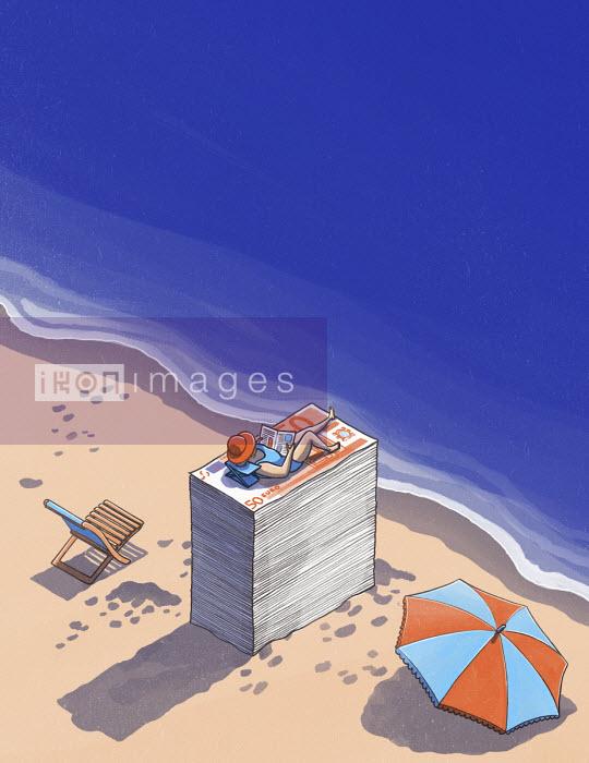 Woman sunbathing on beach on top of pile of money - Danae Diaz