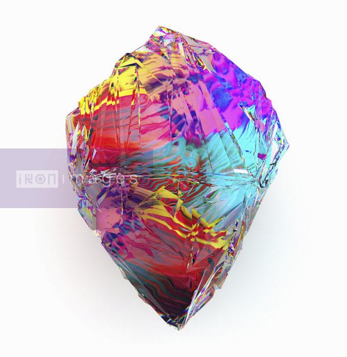 Close up computer generated multi coloured gemstone - Chris Keegan