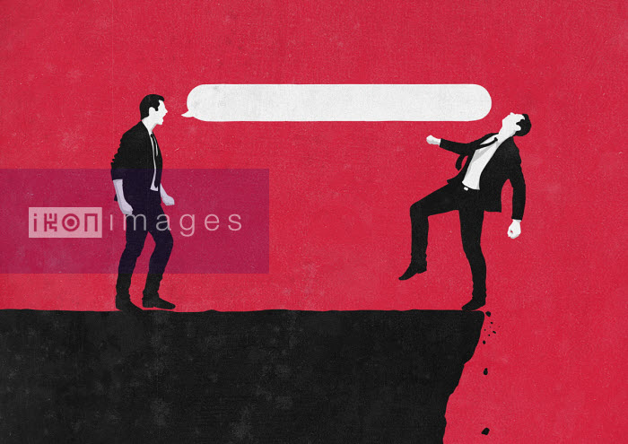 Aggressive businessman knocking man over cliff with speech bubble - Sergio Ingravalle