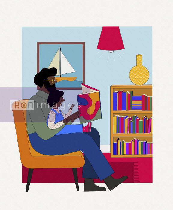 Father and daughter reading story book together - Benjamin Baxter