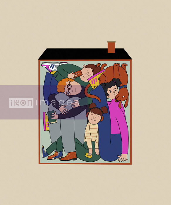 Family squashed together inside small house - Benjamin Baxter
