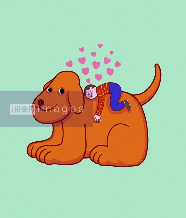 Small boy loving pet dog - Benjamin Baxter