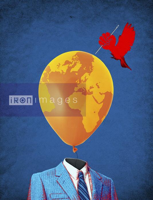 Bird as fist bursting man's world balloon head - Boris Séméniako