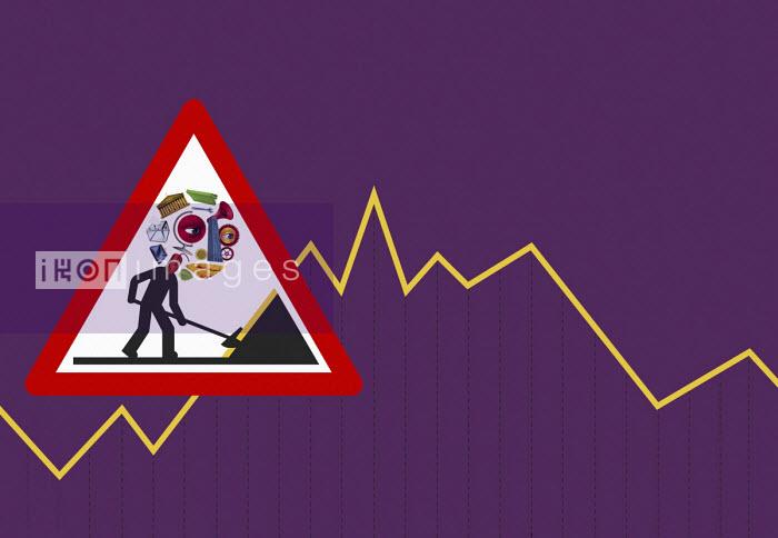 Men at work economic warning sign on line graph - Boris Séméniako