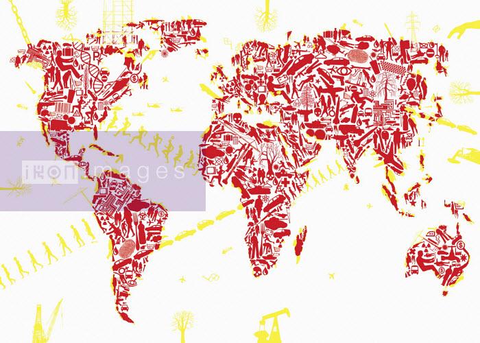 Lots of people, activities and symbols forming world map - Boris Séméniako