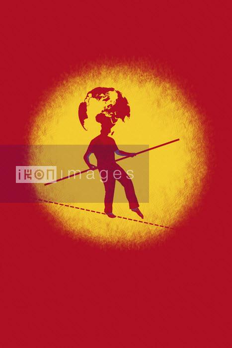 Man walking tightrope with globe head - Boris Séméniako