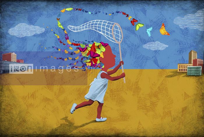 Girl chasing butterflies escaping from her head - Boris Séméniako